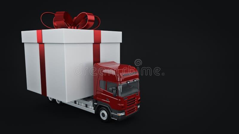 Présente le concept de service de distribution, camion avec un boîte-cadeau illustration stock