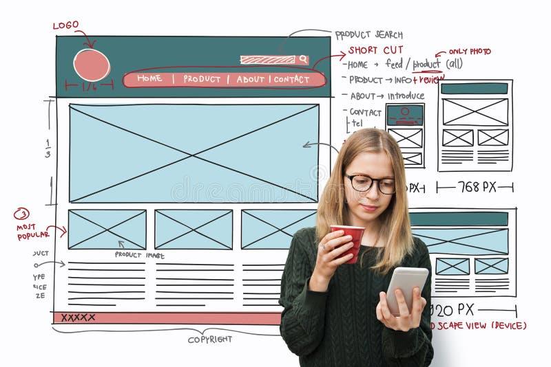 Présentez le concept Blogging d'organisation d'Internet de conception photos stock