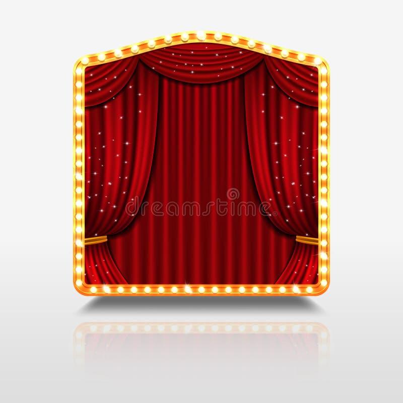 Présentez le rideau dans la bannière brillante avec l'illustration d'or de vecteur de cadre illustration libre de droits
