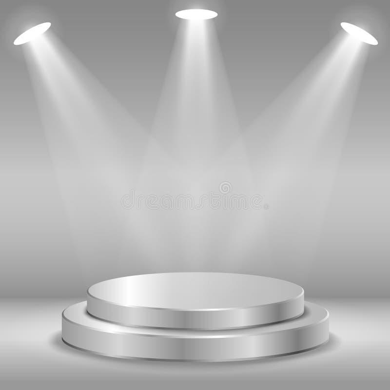 Présentez pour la cérémonie de récompenses Podium rond noir et gris pupitre scène Projecteur illustration stock