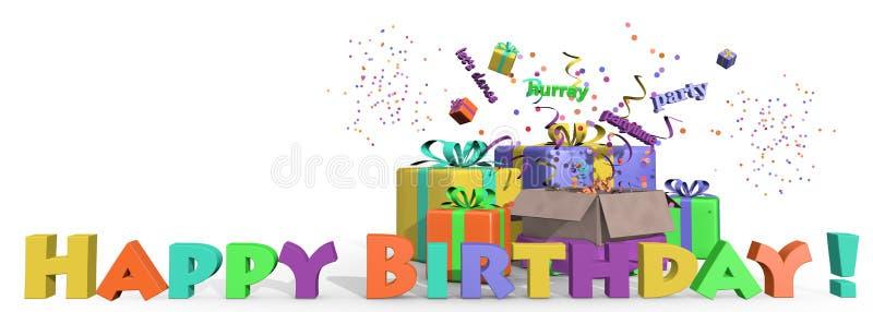 Présents de joyeux anniversaire illustration stock