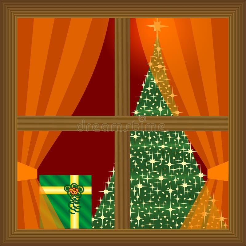 Présents et arbre de Noël à la maison illustration stock