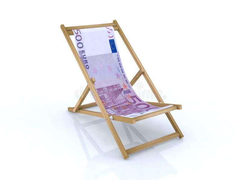 Présidence de plage en bois avec l'euro 500 illustration stock