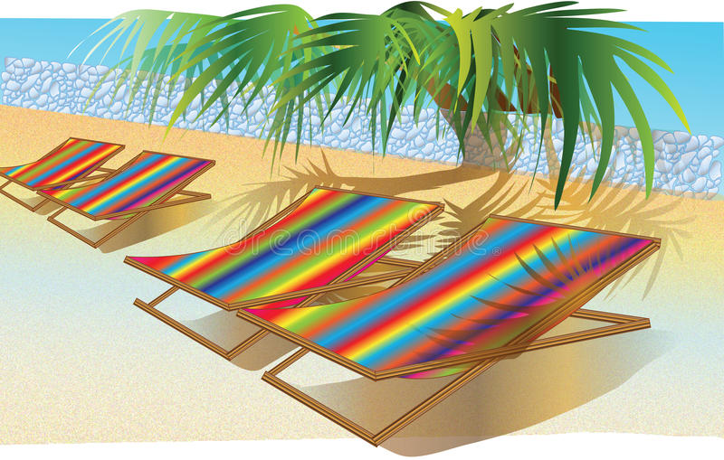 Présidence ou bâti colorée sur la plage illustration stock