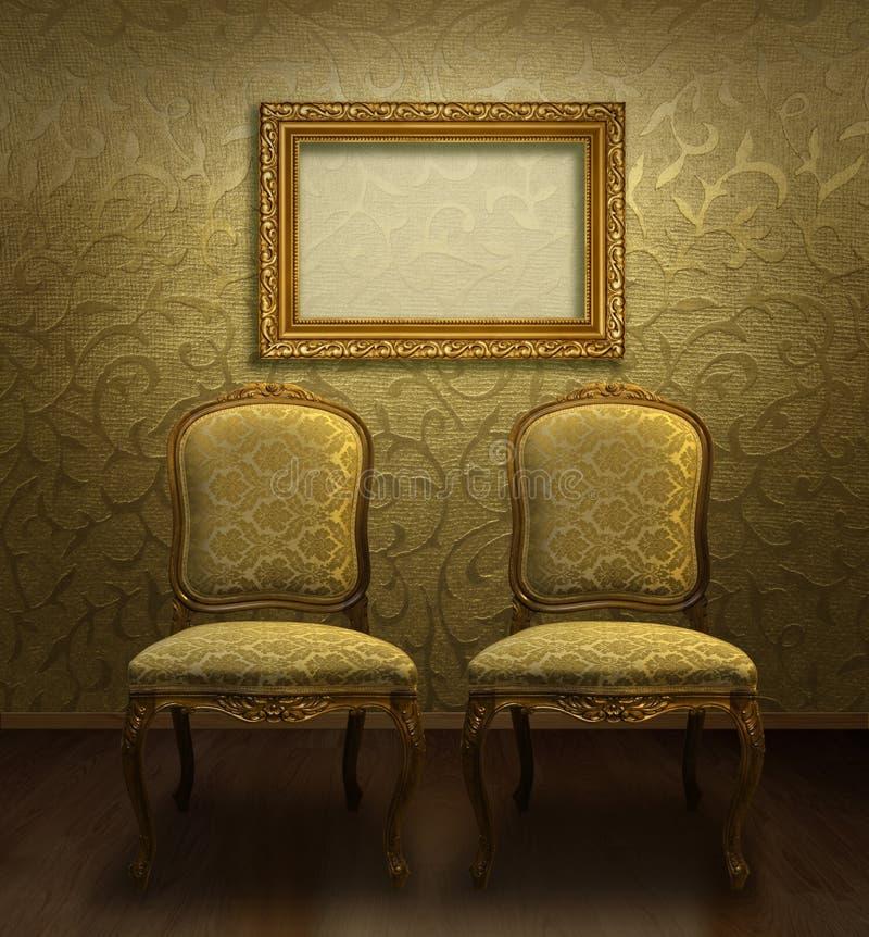 Présidences antiques dans la chambre d'or images libres de droits