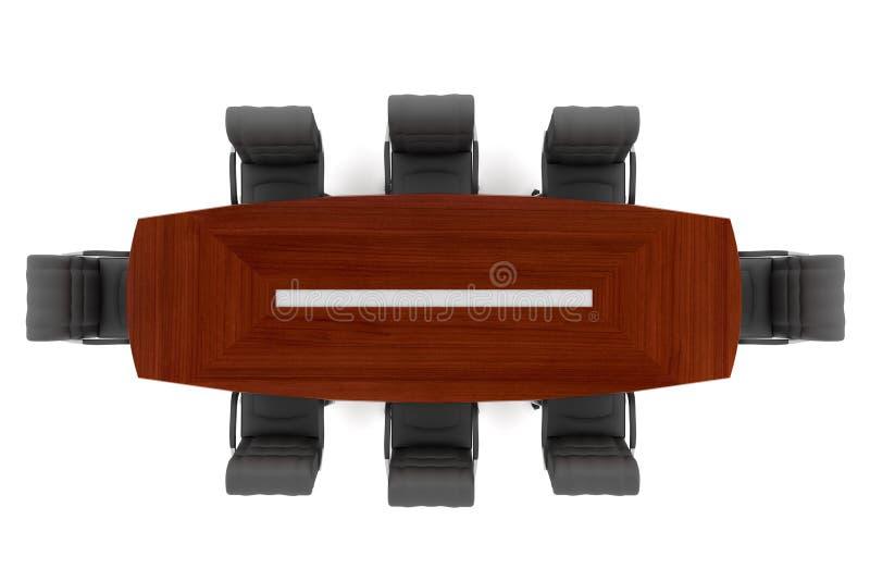 Présidences de table et de bureau de conférence illustration stock