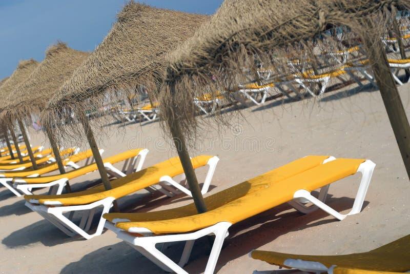 Présidences et parapluies de plage. image libre de droits