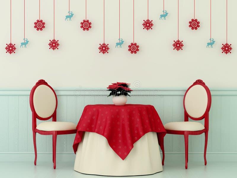 Présidences et une table avec des décorations de Noël illustration de vecteur