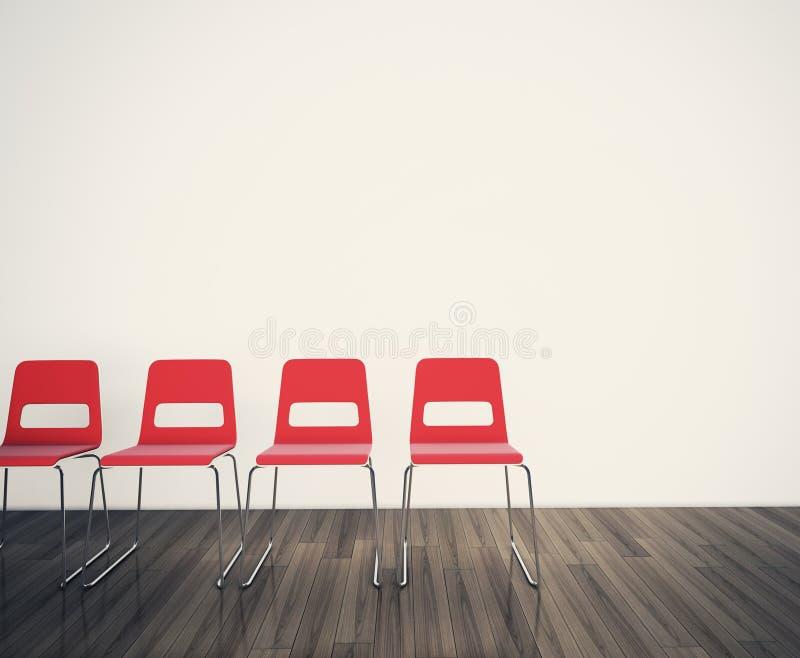 Présidences pour faire face à un mur blanc illustration stock