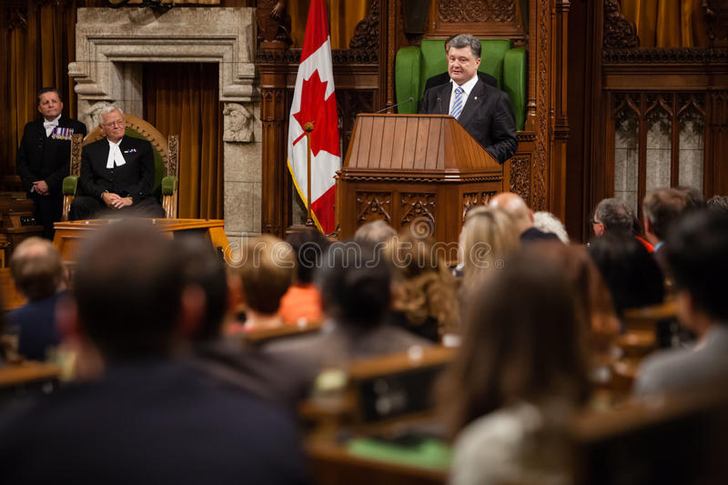 Président de l'Ukraine Petro Poroshenko à Ottawa (Canada) photos stock