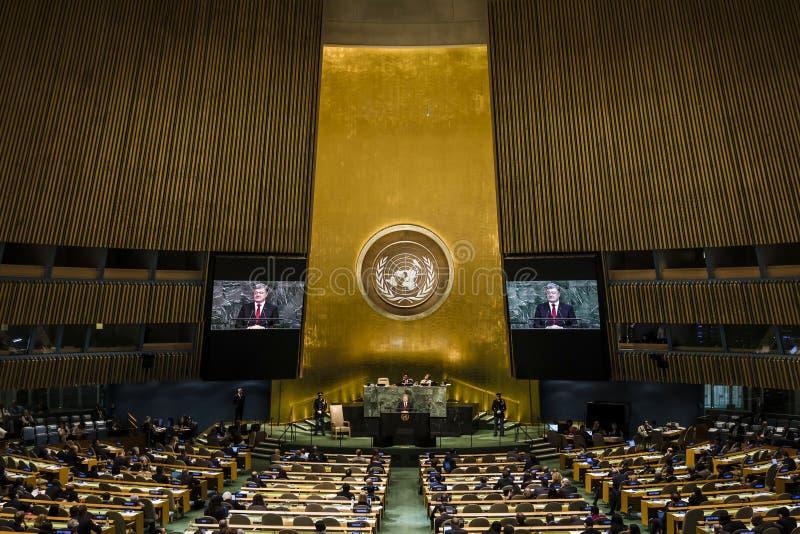 Président de l'Ukraine Petro Poroshenko dans l'Assemblée générale de l'ONU photos libres de droits