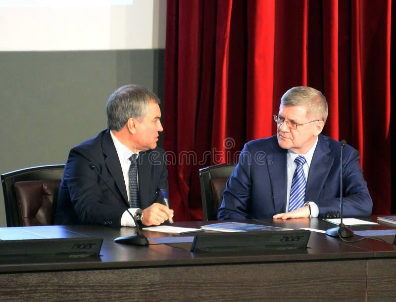 Président de la douma d'état de l'Assemblée fédérale de la Fédération de Russie Vyacheslav Volodin et du procureur General du Rus images libres de droits