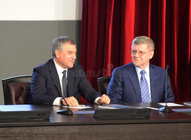 Président de la douma d'état de l'Assemblée fédérale de la Fédération de Russie Vyacheslav Volodin et du procureur General du Rus photographie stock