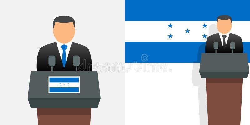 Président et drapeau du Honduras illustration de vecteur