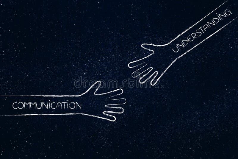Préstamos de una mano amiga, de una comunicación y de una comprensión imagenes de archivo