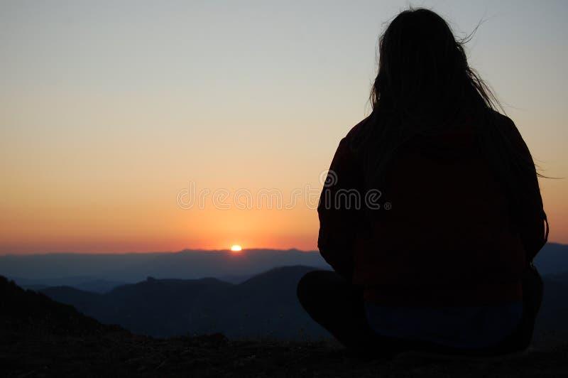 Prévision de coucher du soleil image stock