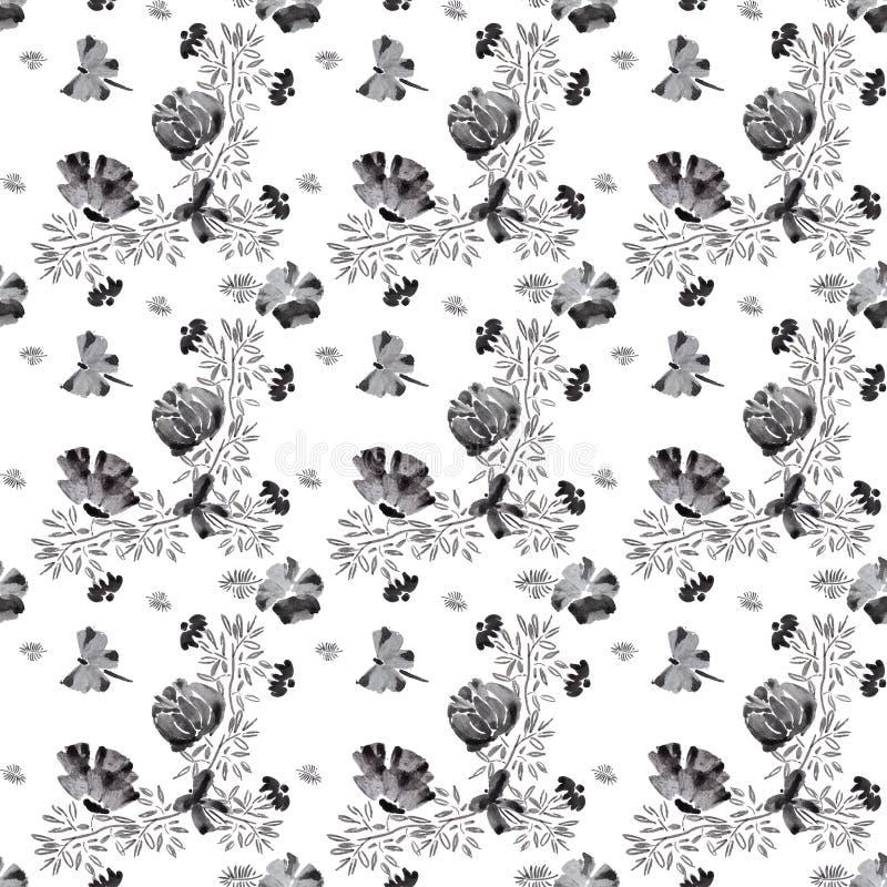 Prévision tirée par la main sans couture de modèle de fleur illustration stock