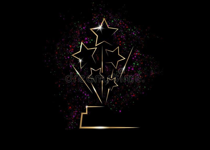 Prêmio da estátua da CONCESSÃO da ESTRELA do ouro do PARTIDO do filme de HOLLYWOOD Oscars que dá a cerimônia Conceito premiado do ilustração do vetor