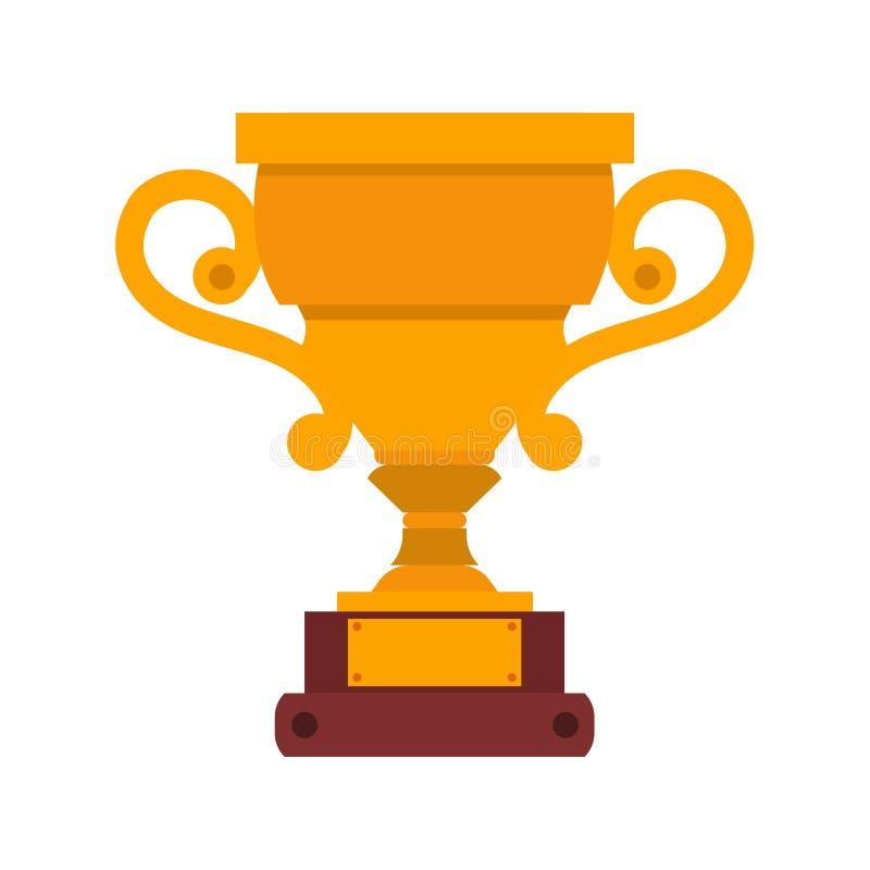 Prêmio do campeão da concessão da ilustração do ouro do vencedor do ícone do vetor do copo do troféu Competição isolada vitória d ilustração stock