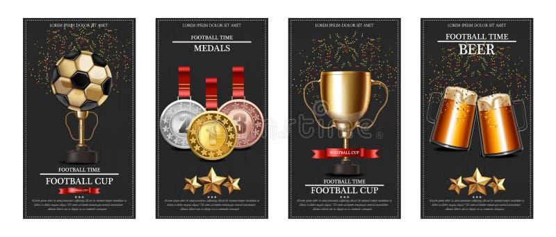 Prêmio do futebol e ilustração realística do vetor das medalhas Bandeiras do cartaz do copo do vencedor ilustração stock