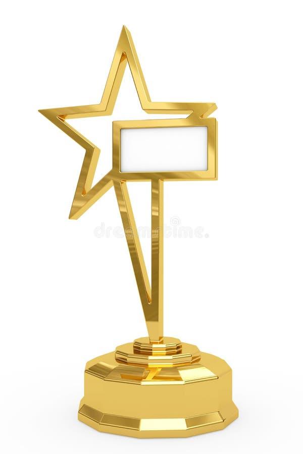 Prêmio dourado da estrela no suporte ilustração do vetor