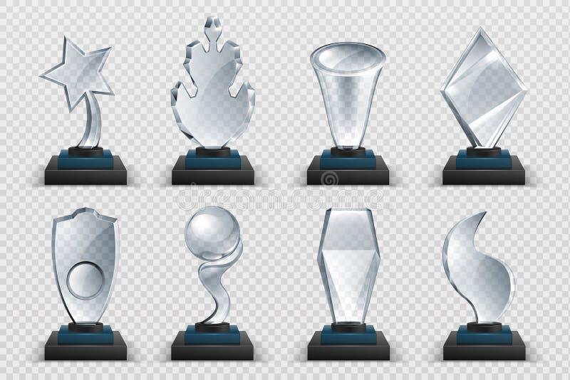 Prêmios de vidro Troféu realista e transparente vencedor, xícaras de estrelas acrílicas e prêmios de competição Vetor isolado com ilustração stock