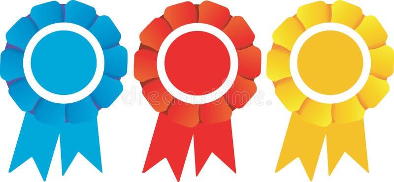 Prêmios dos Rosettes dos vencedores ilustração do vetor