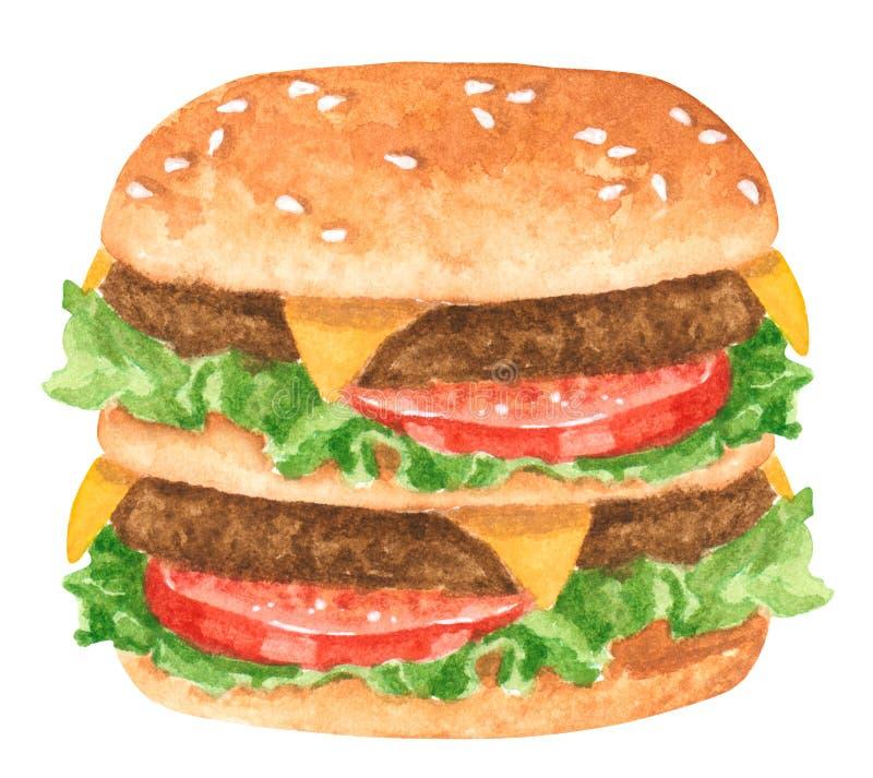 Prêt-à-manger, double hamburger avec des feuilles de salade, tomates et fromage photographie stock libre de droits