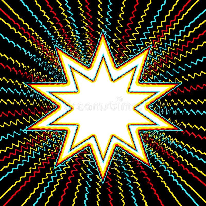 PRÊT graphique de style de bande dessinée POUR l'éclat d'étoile de WORD n de PUISSANCE illustration de vecteur