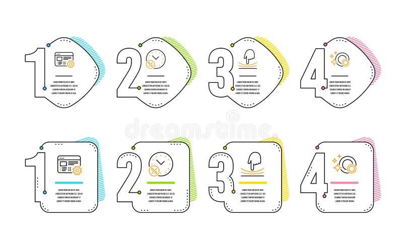 Prêtez les pour cent, les arrangements de Web et l'ensemble élastique d'icônes Nettoyez le signe de plats Remise, outil d'ingénie illustration de vecteur
