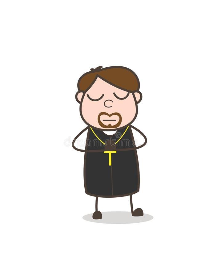Prêtre Doing Prayer de bande dessinée et vecteur de méditation illustration stock