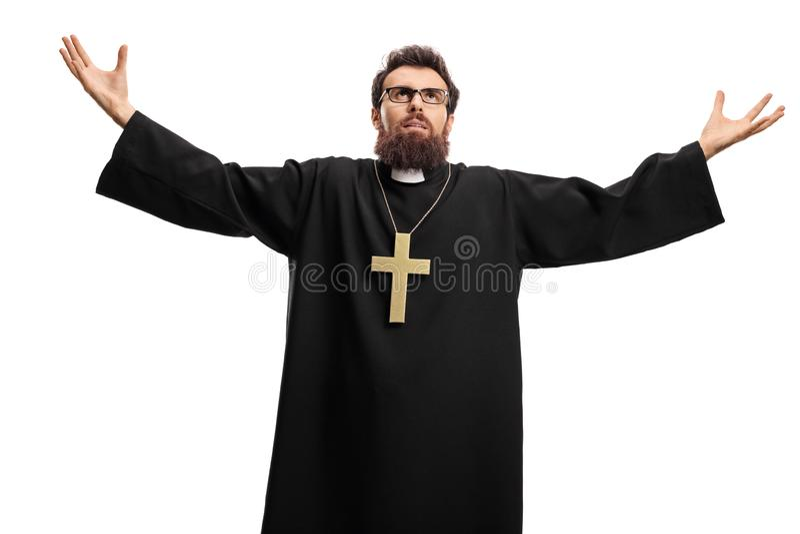 Prêtre recherchant et bras de propagation photos stock