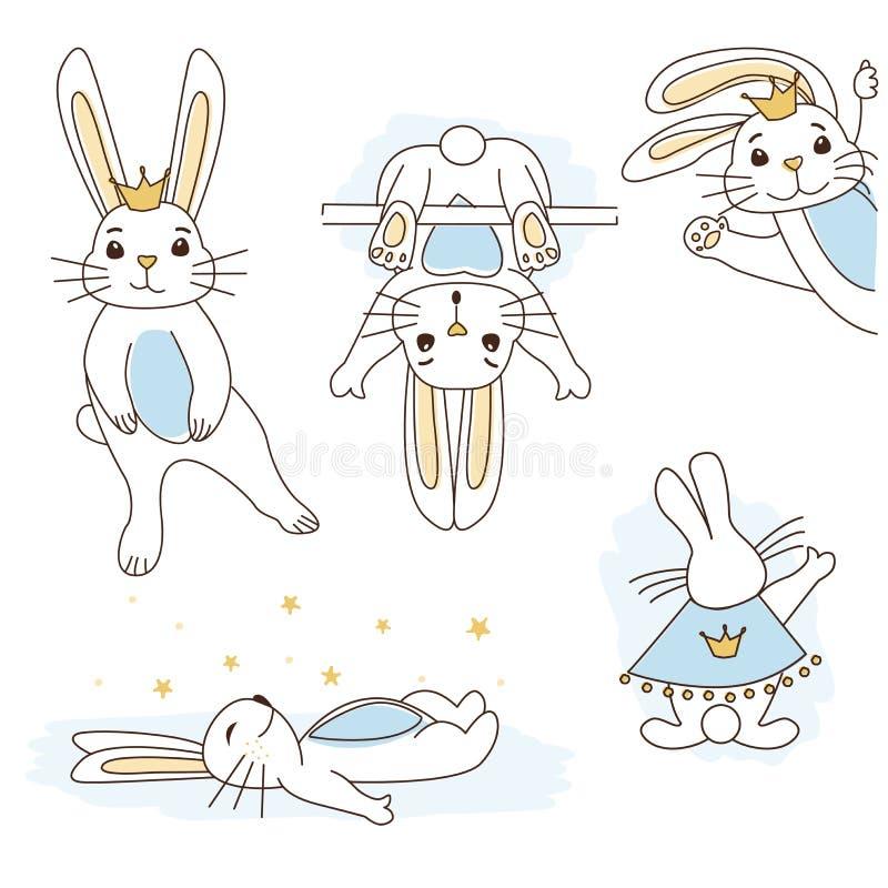 Príncipe blanco lindo del conejo con la corona de oro, vientre azul libre illustration