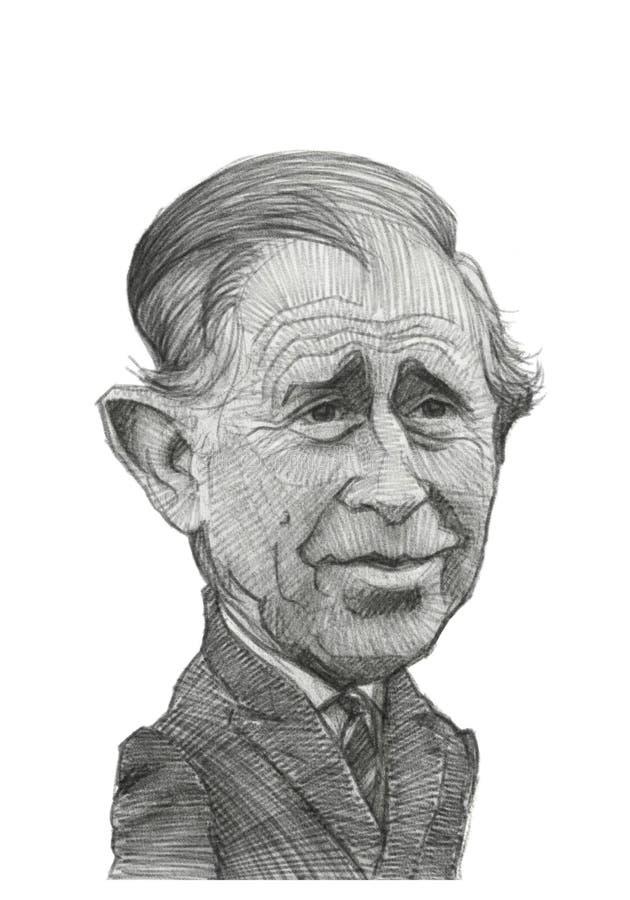 Príncipe Charles Caricature Sketch stock de ilustración