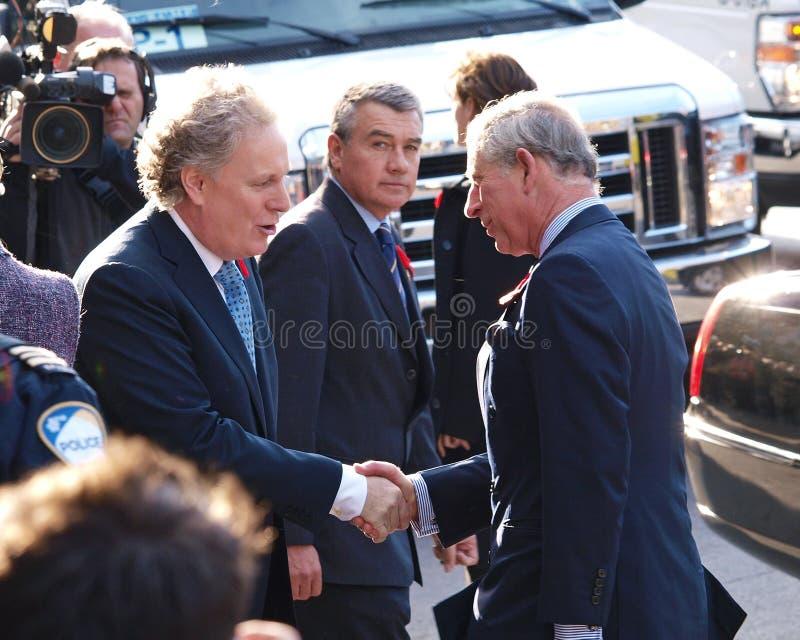 Príncipe Charles com primeiro Jean Charest imagens de stock royalty free