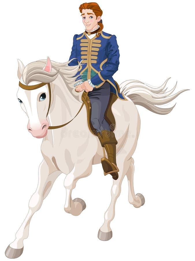 Príncipe Charming que monta un caballo ilustración del vector