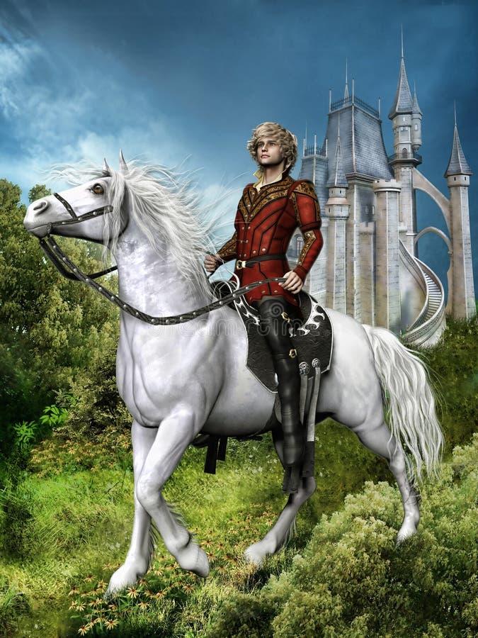 Príncipe de la fantasía en un caballo ilustración del vector