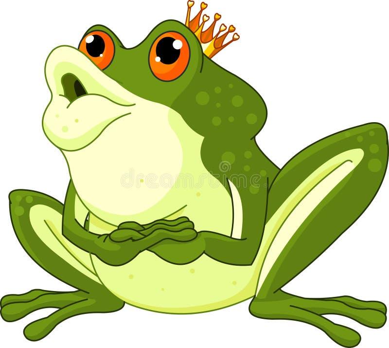 Príncipe de la rana que espera para ser besado ilustración del vector