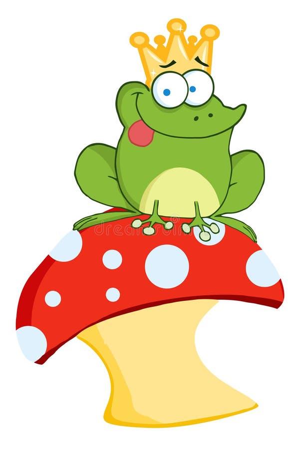 Príncipe de la rana que se sienta en una seta stock de ilustración