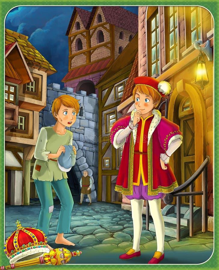 Príncipe e o indigente - o príncipe ou a princesa fortificam - cavaleiros e fadas - ilustração para as crianças ilustração do vetor