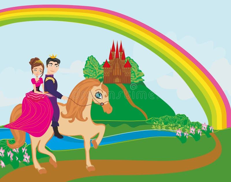 Príncipe e príncipes que montam no cavalo ilustração do vetor