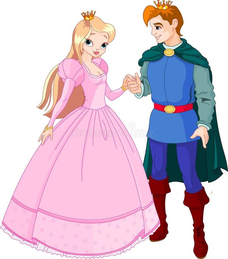 Príncipe e princesa bonitos ilustração do vetor