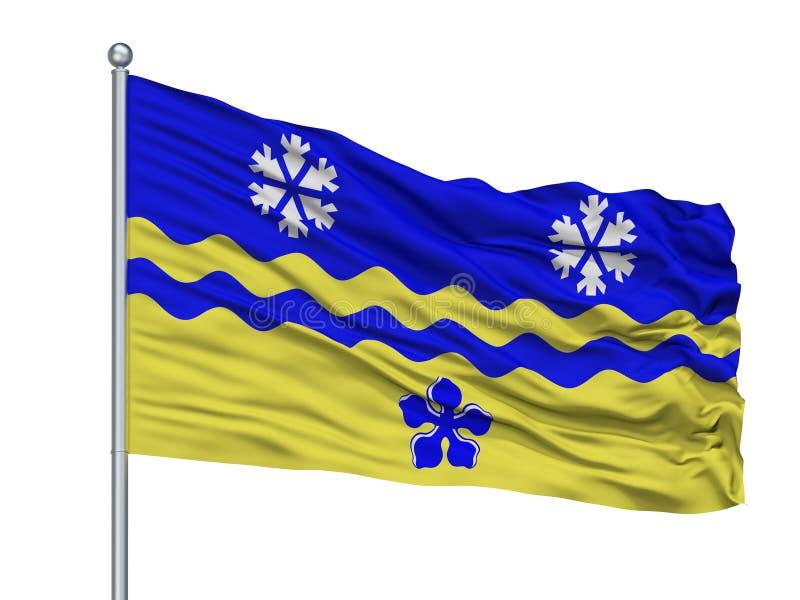 Príncipe George City Flag On Flagpole, Canadá, provincia de la Columbia Británica, aislada en el fondo blanco stock de ilustración