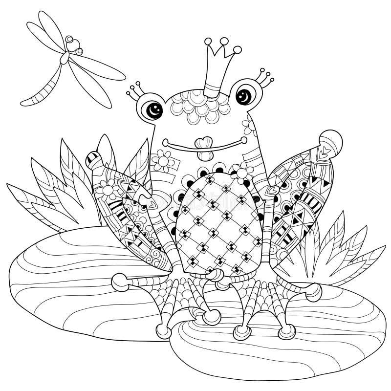 Príncipe lindo de la rana en corona con loto stock de ilustración