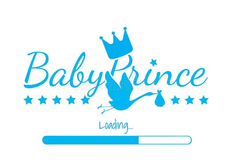 Príncipe Loading do bebê, projeto do vetor, exprimindo o projeto, príncipe Crown, silhueta da cegonha isolada no fundo branco ilustração stock