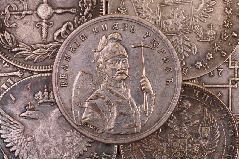 Príncipe magnífico ruso antiguo Rurik de la moneda de plata fotos de archivo