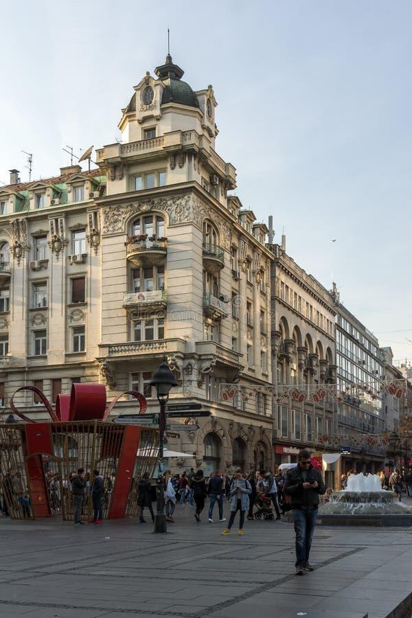 Príncipe Michael Street de la calle de Knez Mihailova en el centro de la ciudad de Belgrado, Serbia imagen de archivo