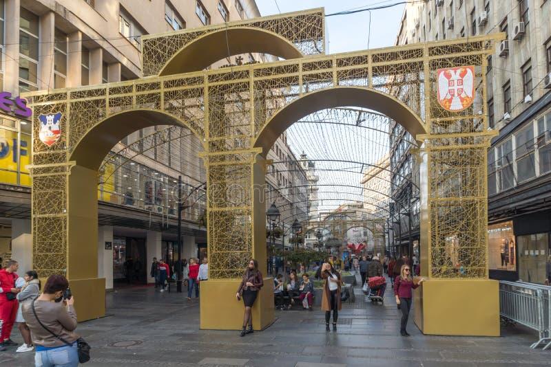 Príncipe Michael Street de la calle de Knez Mihailova en el centro de la ciudad de Belgrado, Serbia fotografía de archivo libre de regalías