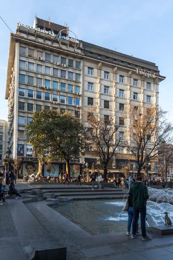 Príncipe Michael Street de la calle de Knez Mihailova en el centro de la ciudad de Belgrado, Serbia foto de archivo libre de regalías