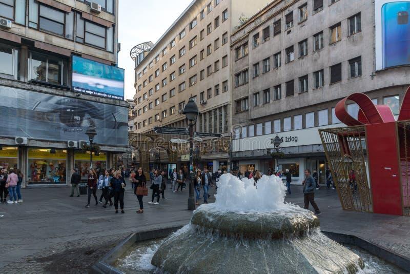 Príncipe Michael Street de la calle de Knez Mihailova en el centro de la ciudad de Belgrado, Serbia imagen de archivo libre de regalías